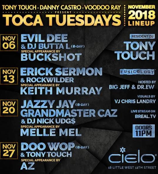 Toca Tuesday w/ Dj Nick Udg$ , Jazzy Jay , Grandmaster Caz , Melle Mel